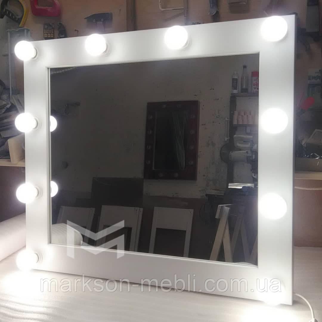 Дзеркало з білої рамою і підсвічуванням MENS 80х90см