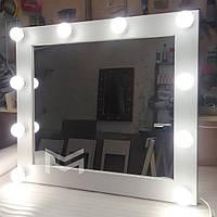 Дзеркало з білої рамою і підсвічуванням MENS 80х90см, фото 1