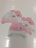 Детские тонкие демисезонные трикотажные шапки с сеточкой для девочек оптом, р.42-44, Польша
