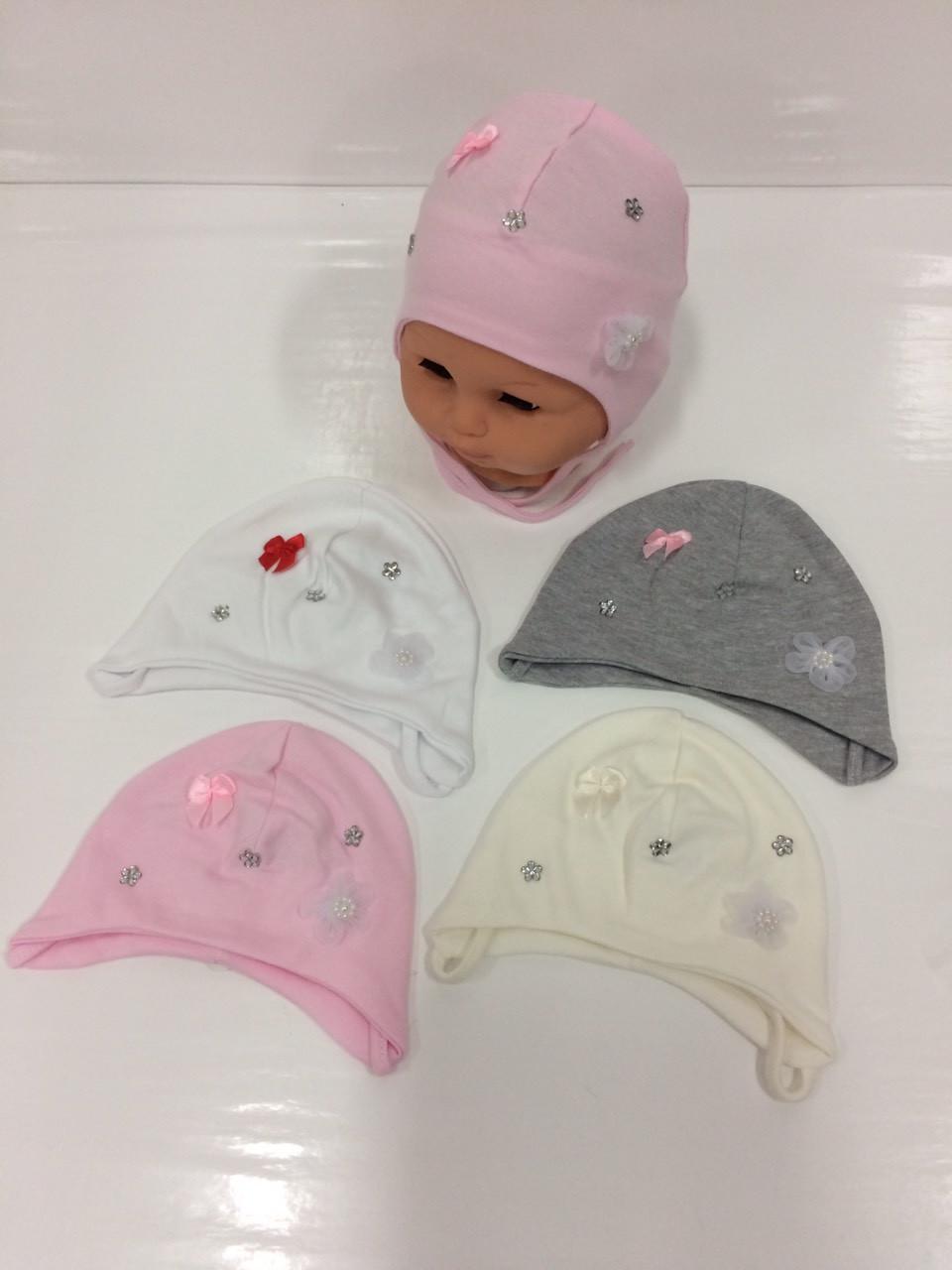 Детские тонкие демисезонные трикотажные шапки для девочек оптом, р.36-42, Польша (Ala Baby)