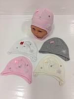 Детские тонкие демисезонные трикотажные шапки для девочек оптом, р.36-42, Польша (Ala Baby), фото 1