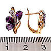 Серьги Xuping с фиолетовыми и белыми фианитами (куб. цирконием), из медицинского золота, в позолоте, ХР00349, фото 2