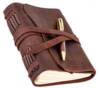Блокнот кожаный коричневый с ручкой 17,6х13,5х3,5
