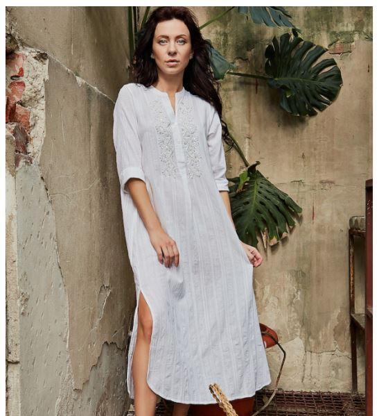 Белое платье из хлопка. Италия. Antica Sartoria-2018S1323