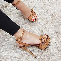Босоножки женские искусственная кожа на высоком каблуке шпилька коричневые, фото 1
