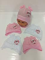 Детские тонкие демисезонные трикотажные шапки для девочек оптом, р.36-38 40-42 Польша (Ala Baby), фото 1