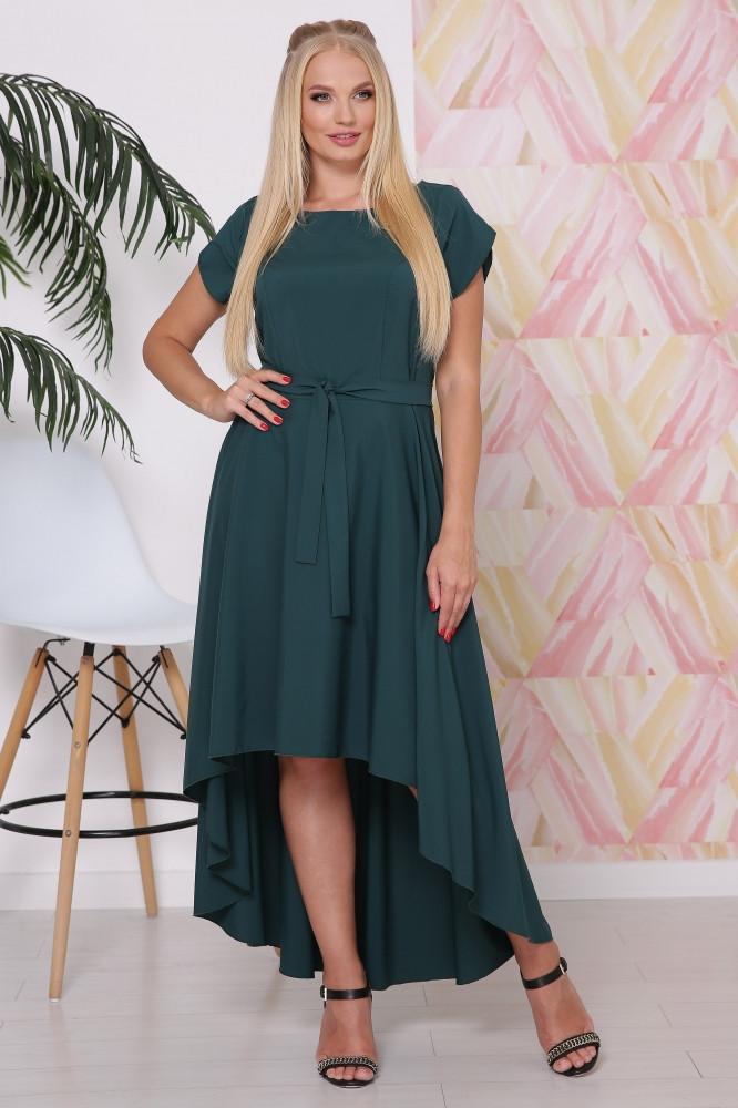 / Размер 50,52,54,56 / Женское платье со шлейфом Магия / цвет изумруд