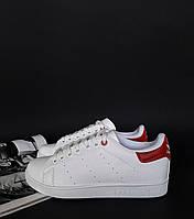 Кроссовки белые с красным Adidas Stan Smith Red! Топ 2019!, фото 1