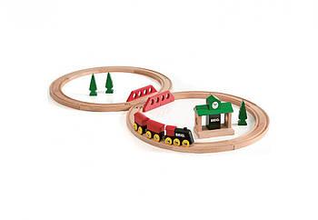 Железная дорога BRIO Деревянная ж/д с вокзалом, 22 элемента 33028
