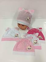 Детские тонкие демисезонные трикотажные шапки для девочек оптом, р.42-44 46-48 Польша (Ala Baby)