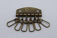 Ключница на 6 карабинов, ширина - 48 мм, цвет - антик, артикул СК 5500