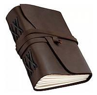 Блокнот кожаный темно-коричневый 20,5х17,0х4,5