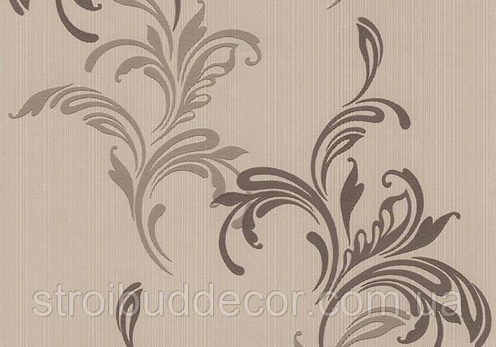 Виниловые обои 0,53*10,05 на бумажной основе бежево-коричневые