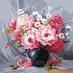 Картина по номерам Чайные розы в вазе (AS0603) 40 х 40 см ArtStory (Без коробки)
