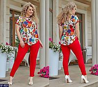 Женский костюм красного цвета брюки и удлиненная блуза короткий рукав  Размеры  50-52, 54-56, 58-60