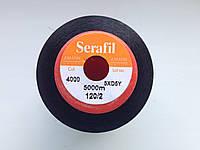 Amann  Serafil   №120.  цвет 4000  ( ЧЁРНЫЙ ).  5000 м