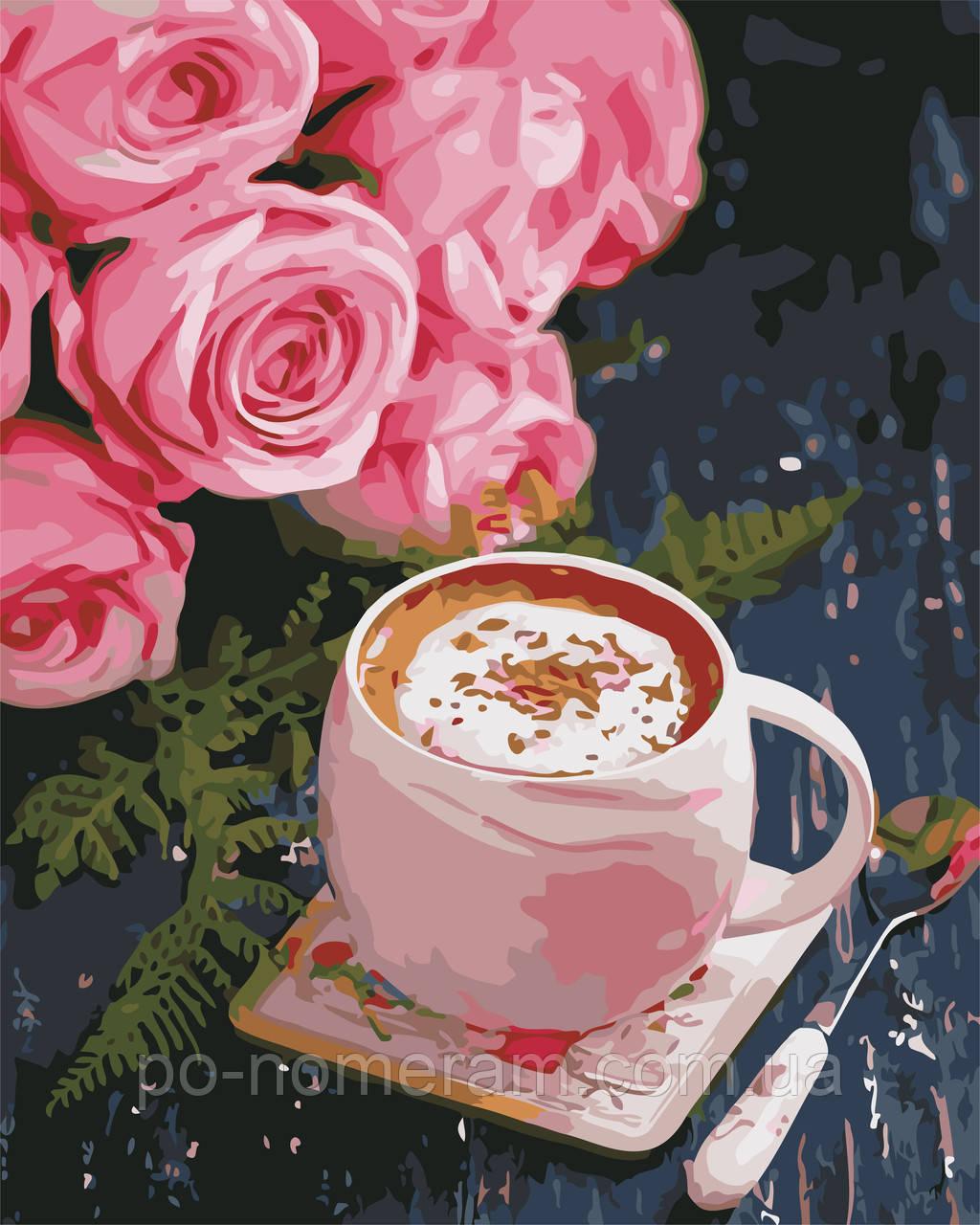 Раскраска для взрослых Розы и латте (AS0668) 40 х 50 см ...