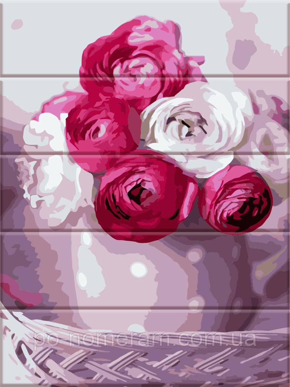 Картина по номерам по дереву Букет из роз (ASW042) 30 х 40 см ArtStory