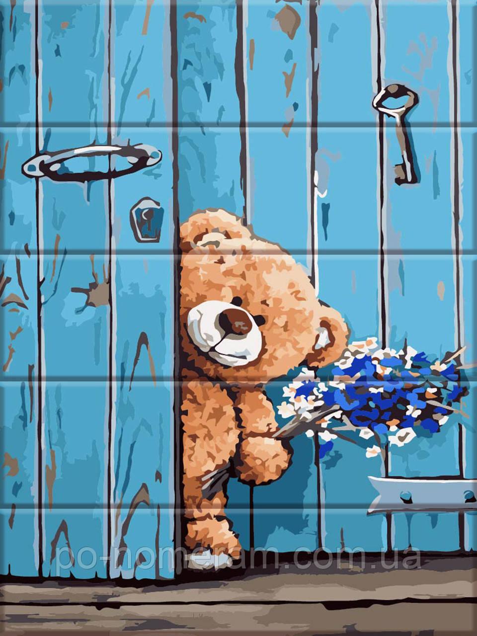 Полотно для малювання ArtStory Ведмедик з букетом (ASW055) 30 х 40 см
