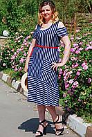 Женское летнее платье сарафан с карманами. Размеры 50-54