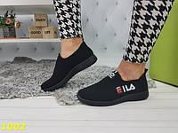 Кеды женские черные  в стиле  fila фила легкие дышащие из обувного текстиля, фото 1