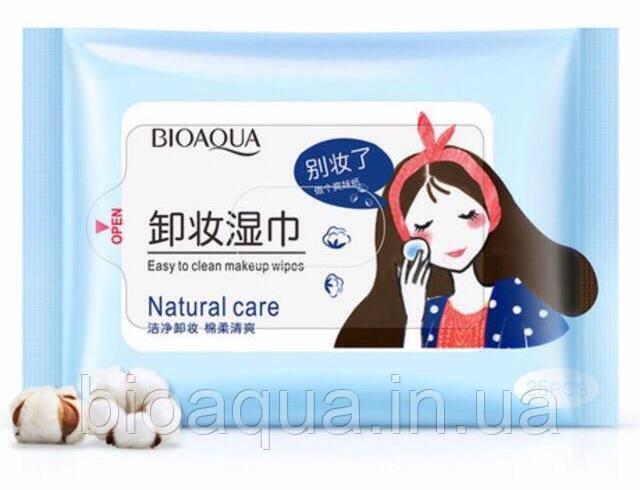 Влажные салфетки для снятия макияжа Bioaqua Natural Care 25 штук