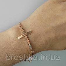Стальной браслет цепочка с крестом ювелирная бижутерия, фото 2