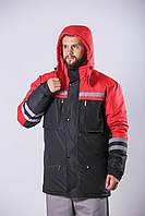 Утеплена комбінована куртка зі світловідбиваючою стрічкою