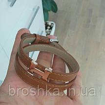 Коричневый кожаный браслет унисекс бижутерия, фото 3