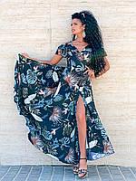 Легкое нарядное платье в пол с принтом