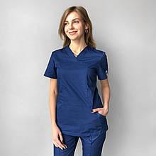 Медицинский женский костюм Топаз синий и черный 40-54