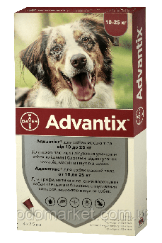 Адвантикс Bayer Advantix капли для собак весом 10-25 кг 4 пипетки