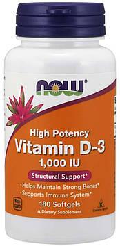 Vitamin D-3 1000 IU (180 softgels) NOW
