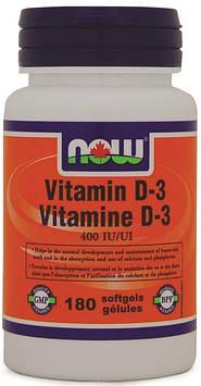 Vitamin D-3 400 IU (180 softgels) NOW
