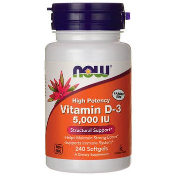 Vitamin D-3 5000 IU (240 softgels) NOW