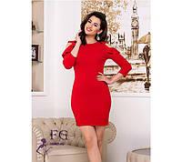 Женское красное платье с воланами на плечах