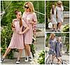 Льняное платье в полоску мама+дочка 19446
