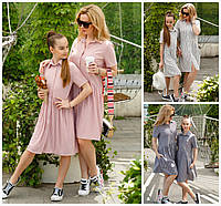 Льняное платье в полоску мама+дочка 19446, фото 1