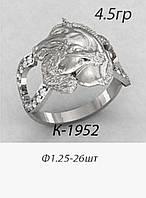 Кольцо серебряное Лошади с Подковой
