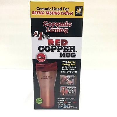 Керамическая термокружка с крышкой Red Copper Mug