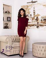 Женское короткое платье цвета марсала