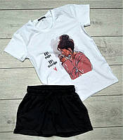 Модный женский спортивный костюм комплект шорты и футболка белый с черным Love
