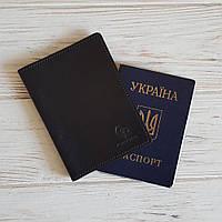 Обложка на паспорт Grande Pelle кожаная черная (252610)