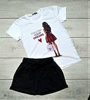 Модный женский спортивный костюм комплект шорты и футболка белый с черным Dreams
