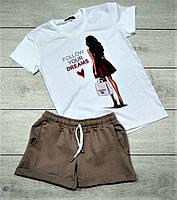 Модный женский спортивный костюм комплект шорты и футболка белый с хаки Dreams, фото 1