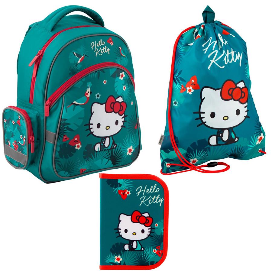 Набор первоклассника для девочки Рюкзак, сумка для обуви, пенал Kite Hello Kitty 521