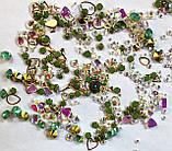 Стрази Swarovski мікс різні розміри і форми + формочки різних форм (1400 шт) АВ , зелені і лілові., фото 2