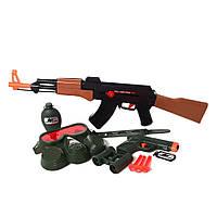 Детский набор  военного AK-907EG  автомат55см-трещот, ББ