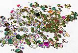 Стрази Swarovski мікс різні розміри і форми + формочки різних форм (1400 шт) АВ , зелені і лілові., фото 6