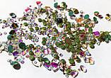 Стрази Swarovski мікс різні розміри і форми + формочки різних форм (1400 шт) АВ , зелені і лілові., фото 7